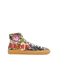 Zapatillas altas con print de flores en multicolor de Gucci