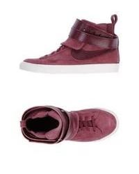 Zapatillas altas de ante burdeos