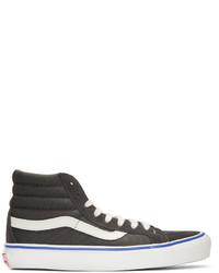 45bc2f3a3 ... Zapatillas altas de ante de rayas horizontales en gris oscuro de Vans