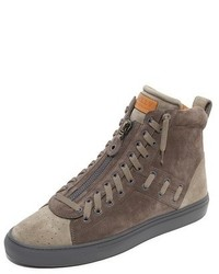 Zapatillas altas de ante en gris oscuro