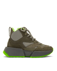 Zapatillas altas de ante verde oliva de MM6 MAISON MARGIELA
