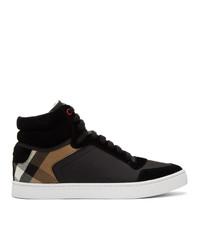 Zapatillas altas de cuero a cuadros negras de Burberry