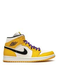 Zapatillas altas de cuero amarillas de Jordan