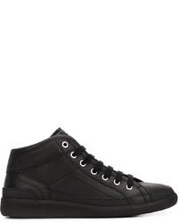 Zapatillas altas de cuero con estampado geométrico negras de Maison Margiela