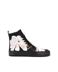 Zapatillas altas de cuero con print de flores negras de Ann Demeulemeester