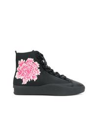 Zapatillas altas de cuero con print de flores negras de Y-3