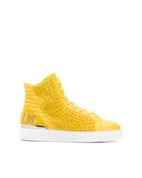 Zapatillas altas de cuero con tachuelas amarillas de Philipp Plein