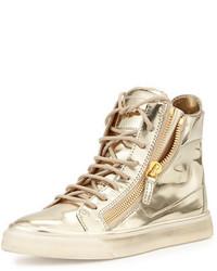 Zapatillas altas de cuero doradas