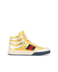 Zapatillas altas de cuero doradas de Gucci