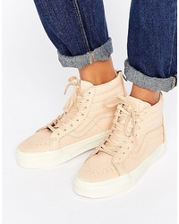 Zapatillas altas de cuero en beige de Vans