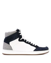 Zapatillas altas de cuero en blanco y azul marino de Eleventy