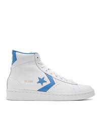 Zapatillas altas de cuero en blanco y azul