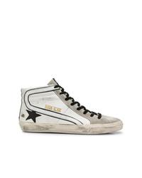 Zapatillas altas de cuero en blanco y negro de Golden Goose Deluxe Brand