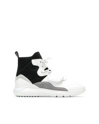 Zapatillas altas de cuero en blanco y negro de Hogan