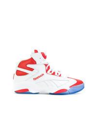 Zapatillas altas de cuero en blanco y rojo