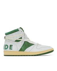 Zapatillas altas de cuero en blanco y verde