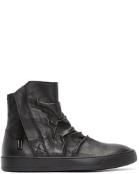 Zapatillas altas de cuero en gris oscuro de Alexandre Plokhov