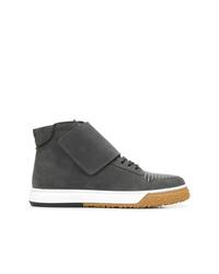 Zapatillas altas de cuero en gris oscuro de Emporio Armani