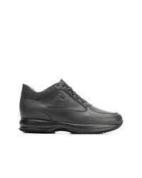 Zapatillas altas de cuero en gris oscuro de Hogan