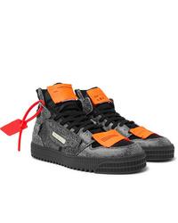 Zapatillas altas de cuero en gris oscuro de Off-White