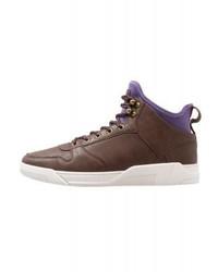 Zapatillas altas de cuero en marrón oscuro de YOURTURN