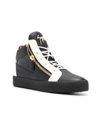 Zapatillas altas de cuero en negro y blanco