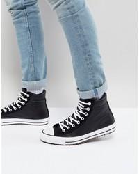 Zapatillas altas de cuero en negro y blanco de Converse