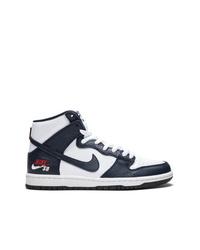 Zapatillas altas de cuero en negro y blanco de Nike