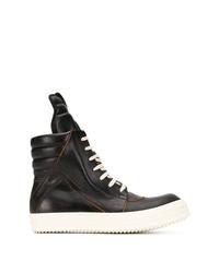 Zapatillas altas de cuero en negro y blanco de Rick Owens