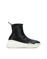 Zapatillas altas de cuero en negro y blanco de Stella McCartney
