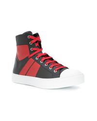 Zapatillas altas de cuero en rojo y negro