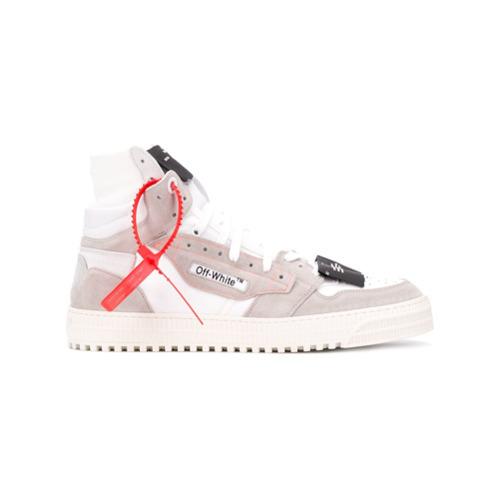 Zapatillas Altas De Cuero Estampadas Blancas De Off White 475