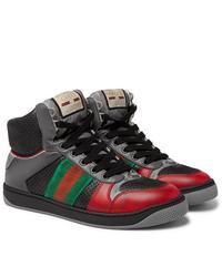 Zapatillas altas de cuero estampadas en gris oscuro de Gucci