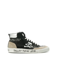 Zapatillas altas de cuero estampadas en negro y blanco de Philipp Plein