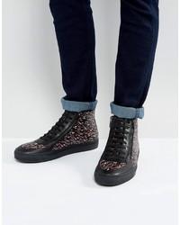 Zapatillas altas de cuero estampadas negras de Hugo Boss