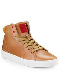 Zapatillas altas de cuero marrón claro