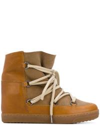 Zapatillas altas de cuero marrón claro de Isabel Marant