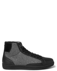 Zapatillas altas de cuero negras de Brioni
