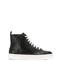 Zapatillas altas de cuero negras de Calvin Klein