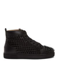 Zapatillas altas de cuero negras de Christian Louboutin