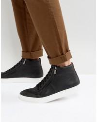 Zapatillas altas de cuero negras de Hugo Boss