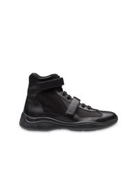 Zapatillas altas de cuero negras de Prada