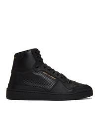 Zapatillas altas de cuero negras de Saint Laurent