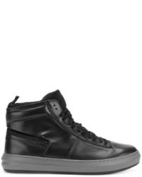 Zapatillas altas de cuero negras de Salvatore Ferragamo