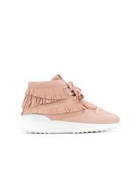 Zapatillas altas de cuero сon flecos rosadas de Tod's