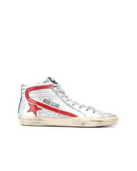 Zapatillas altas de cuero plateadas de Golden Goose Deluxe Brand
