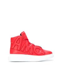 Zapatillas altas de cuero rojas de Alexander McQueen