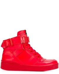 Zapatillas altas de cuero rojas de Moschino