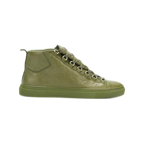 Zapatillas altas de cuero verde oliva de Balenciaga