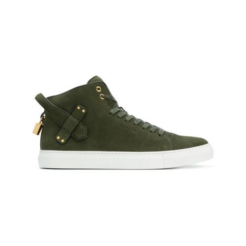 Zapatillas altas de cuero verde oliva de Buscemi